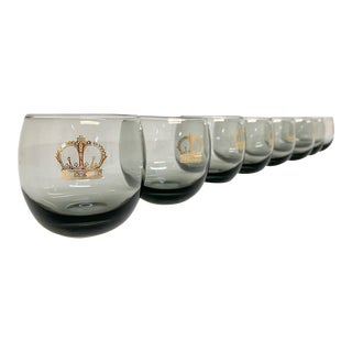 Crowned Roly Poly Barware in Smokey Gray- Set of 8 For Sale