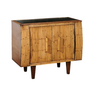 Chic Restored Art Deco Commode in Bamboo and Black Lacquer, Circa 1940 For Sale