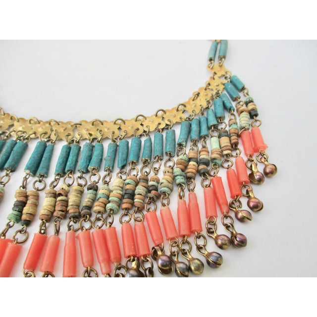 Mediterranean Egyptian Faience and Gilded Brass Tribal Necklace For Sale - Image 3 of 5