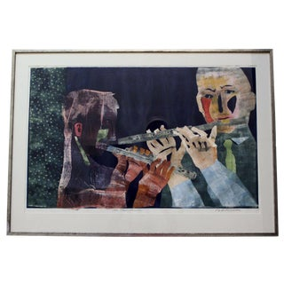 The Music Lesson Painting by Robert Broner Hand Signed Framed & Titled For Sale