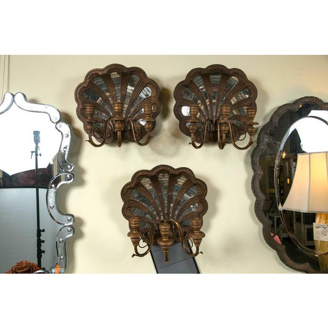 Wood Shell and Mirror Wall Sconces - Set of Four - Image 4 of 9