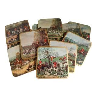 Mid Century Equestrian Hunt Scene Coasters - Set of 11