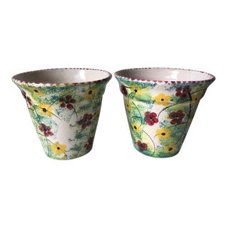 Vintage Italian Hand-Painted Planters-A Pair