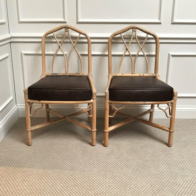 1960s 1960s Chinoiserie Rattan Dining Table & Chairs - 5 Pieces For Sale - Image 5 of 13