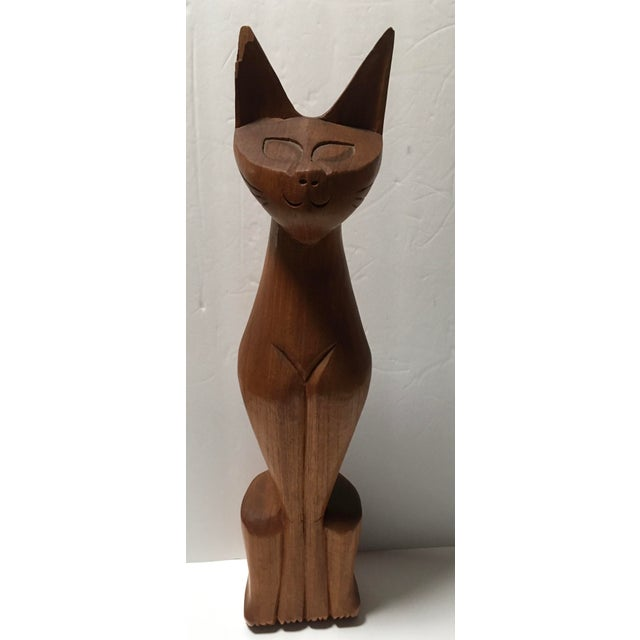 """Mid-Century 20"""" Wooden Cat Sculpture For Sale In Tampa - Image 6 of 6"""