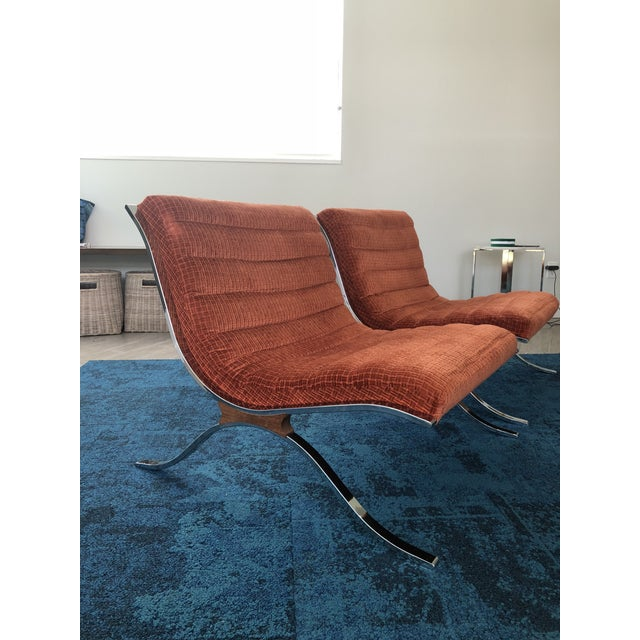 Mid Century Modern Barcelona Style Chairs by Selig- A Pair For Sale In Orlando - Image 6 of 6