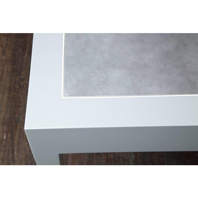 Modern Metallic Grey Leather and Lacquer Game Table For Sale - Image 3 of 8