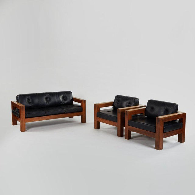 Brown Mid-Century Modern Sofa, Chairs and Coffee Table Salon Set - 4 Pc. Set For Sale - Image 8 of 13