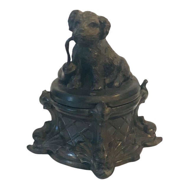 19th Century French Inkwell With Dog For Sale