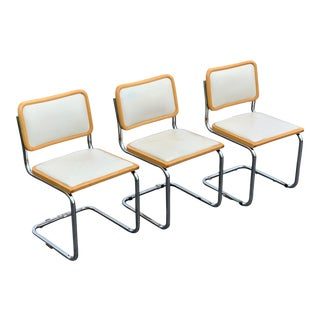 Marcel Breuer Style Chrome and Wood Side Chairs- Set of 3 For Sale