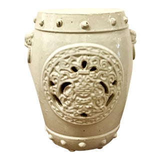 Transitional Asian Style White Dragon Medallion Ceramic Garden Stool For Sale