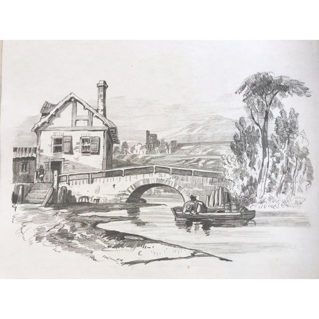 Cottage 19th Century French Country Landscape Drawing 1847 For Sale - Image 3 of 7