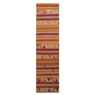 """Vintage Konya Geometric Red Wool Kilim Rug - 2'3"""" x 9'3"""" For Sale"""