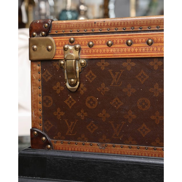 Canvas Vintage Louis Vuitton Hard Cover Suitcase Mounted as a Table For Sale - Image 7 of 9