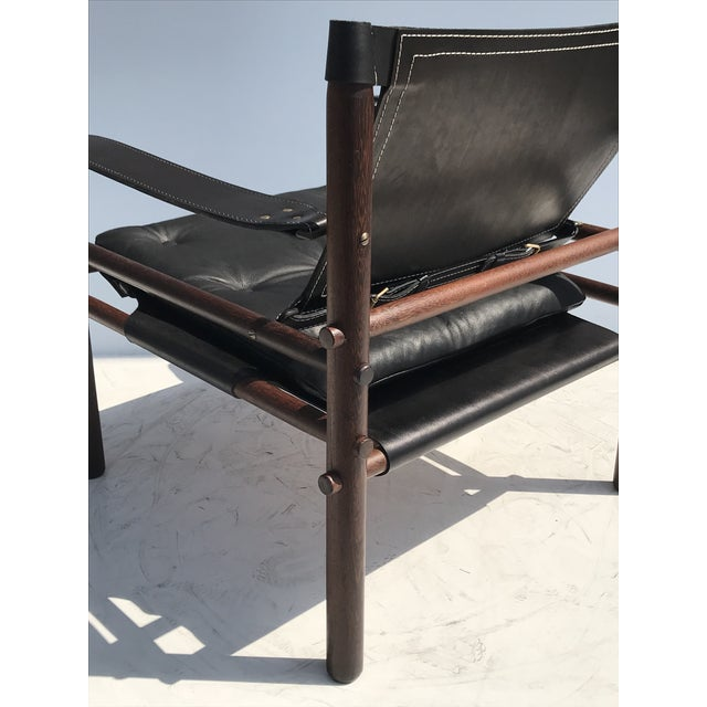 """Animal Skin Pair of Arne Norell Black """"Sirocco"""" Safari Chairs For Sale - Image 7 of 11"""