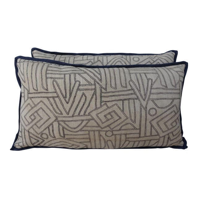 Geometric Kuba Cloth Pillows - A Pair For Sale