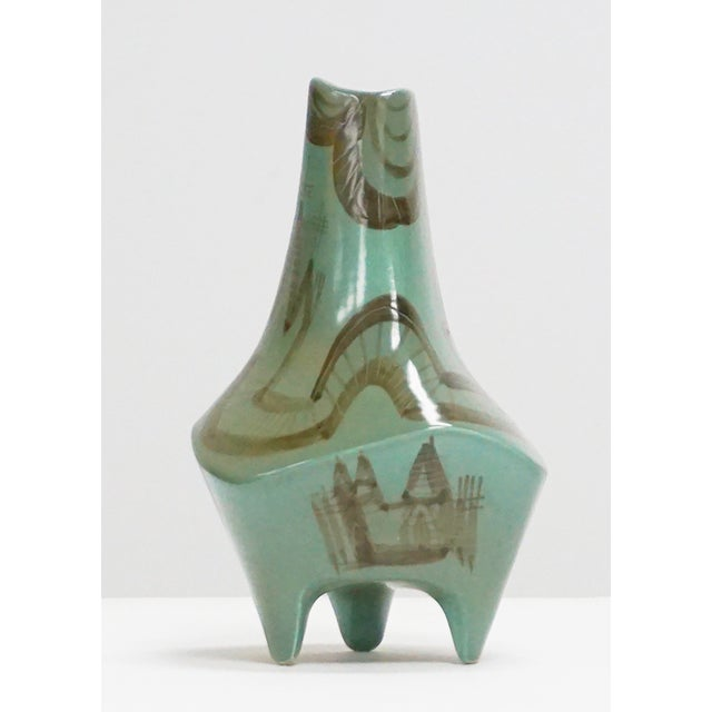 Abstract Castle Motif Three Legged Vessel - Image 3 of 6