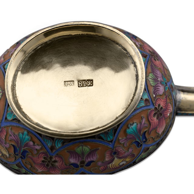 Gothic Fabergé Enameled Silver Kovsh For Sale - Image 3 of 5