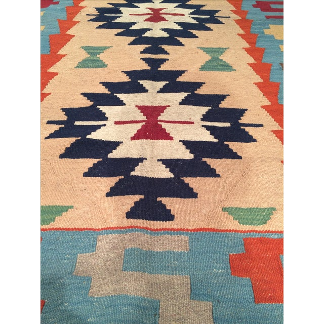 Hand woven Reversible Kilim Rug. 100% Lamb's wool and wool pile. Flat-weave. This collection complements any room looking...