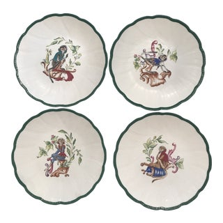 "Hand Painted ""Peint a La Main"" Chantal Mirabaud Monkey Plates - Set of 4 For Sale"