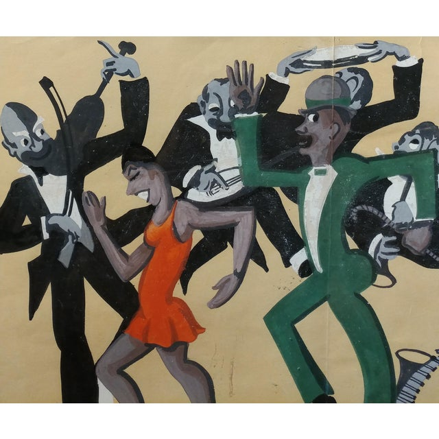 Lucille Miller -African American Dancing Jazz-1930 - Painting Guache on Paper For Sale - Image 5 of 11