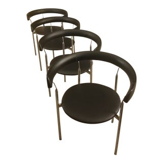 1960s Vintage Danish Rondo Dining Chairs by Selig - Set of 4 For Sale