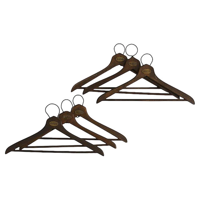 1930s Coat Check Numbered Hangers, Set of 6 For Sale