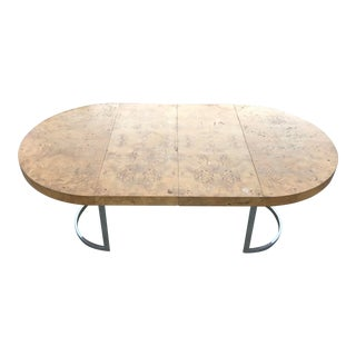 Mid-Century Olive Burl Wood Oval Dining Table