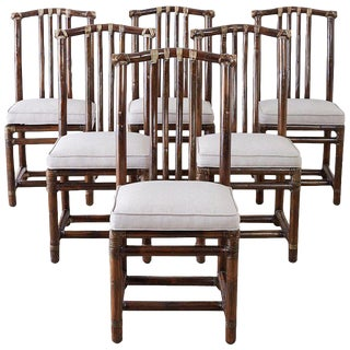 Set of Six McGuire Bamboo Rattan Linen Dining Chairs For Sale