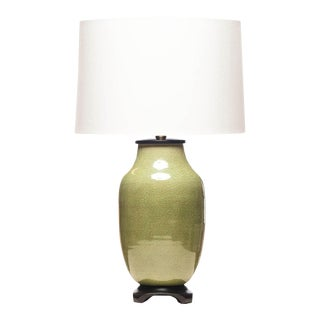 Lawrence & Scott Hand Spun Porcelain Dun Lang Table Lamp With Celadon Crackle Glaze For Sale