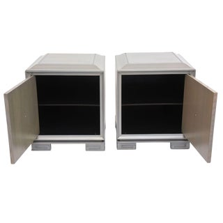 Pair of American Modern Cerused Oak Grey Cabinets, Attributed to James Mont For Sale