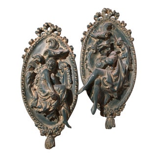 Victorian High Relief Plaster Wall Statues - a Pair For Sale