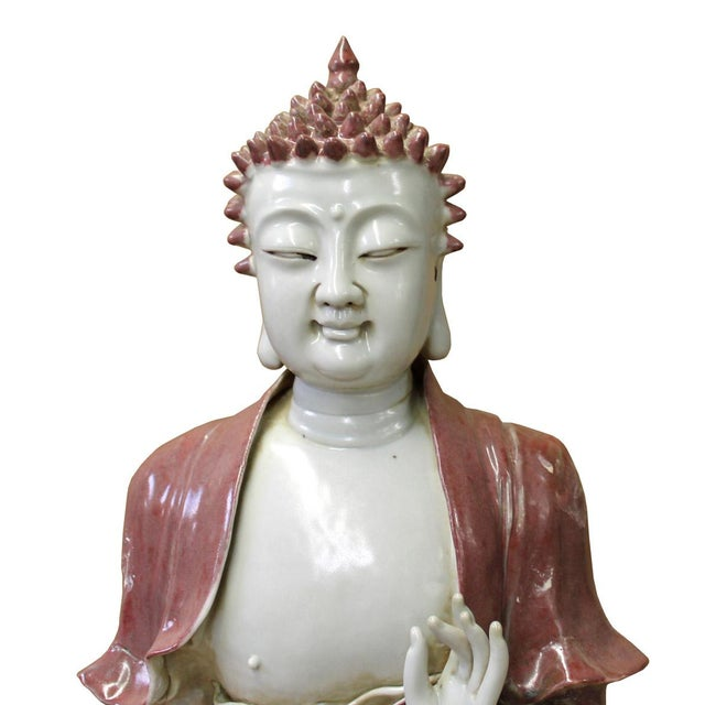 This is a handmade Chinese accent decorative porcelain statue of Buddha with Bowl in off white and red vintage color....