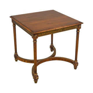 French Louis XVI Style Gilt Accent Fruit Wood Square Side Table For Sale