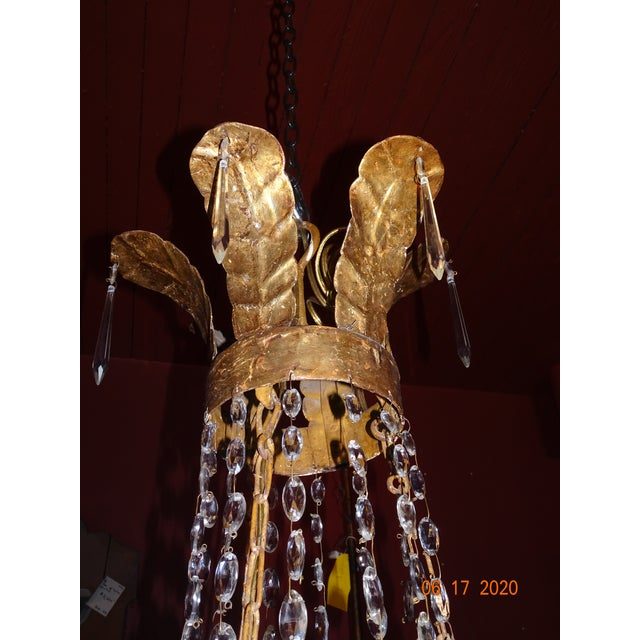 19th Century Italian Gilded Iron and Crystal Chandelier For Sale - Image 4 of 12