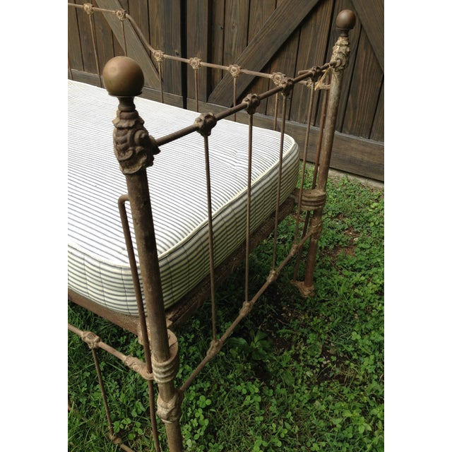 Rustic Vintage Iron Bench For Sale - Image 3 of 4