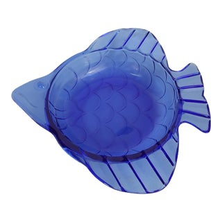 Cobalt Glass Fish Ashtray or Catch All