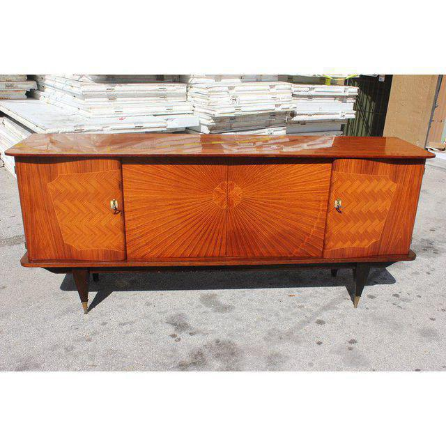 French Art Deco Exotic Rosewood Sunburst Sideboard / Buffet Circa 1940s - Image 9 of 10