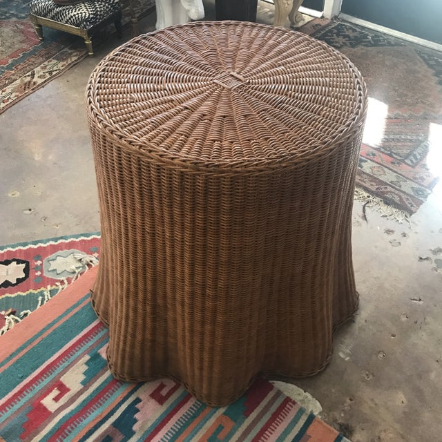 Contemporary Mid Century Wicker Trompe L'oeil Draped Ghost Table For Sale - Image 3 of 8