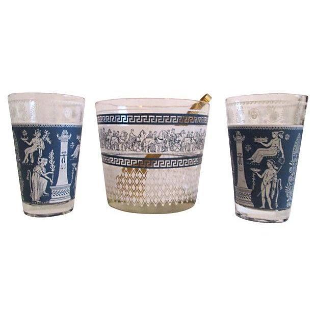 Midcentury Grecian Ice Bucket & Glasses - Set of 4 - Image 1 of 6