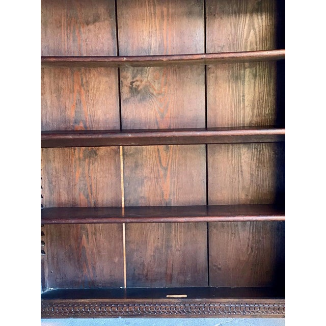 Wood 1880 Antique Gothic Solid Oak Bookcase For Sale - Image 7 of 11