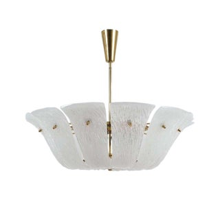 J.T. Kalmar Ceiling Lamp Chandelier with Curved and Textured Glass, Austria 1960 For Sale