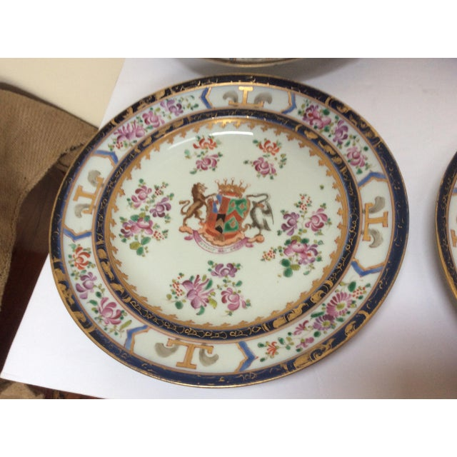 Asian French Chinese Export Style Armorial Plates - Set of 6 For Sale - Image 3 of 9