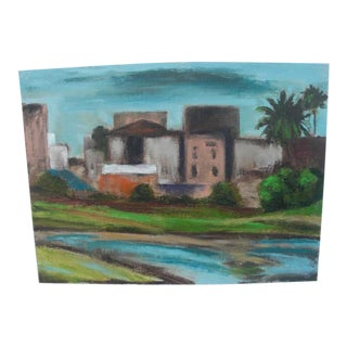 Abstract Cityscape Lake View Painting