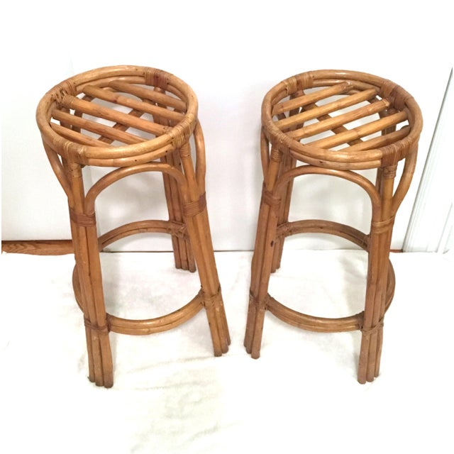 Vintage Rattan Stools or Plant Stands - a Pair For Sale - Image 4 of 7