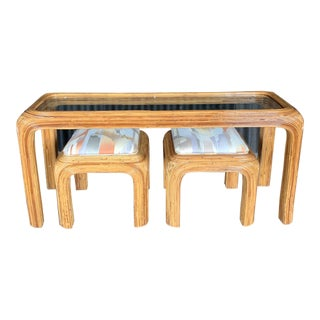 Hollywood Regency Pencil Reed Glass Shelf Console With Two Coordinating Benches - e Pieces For Sale