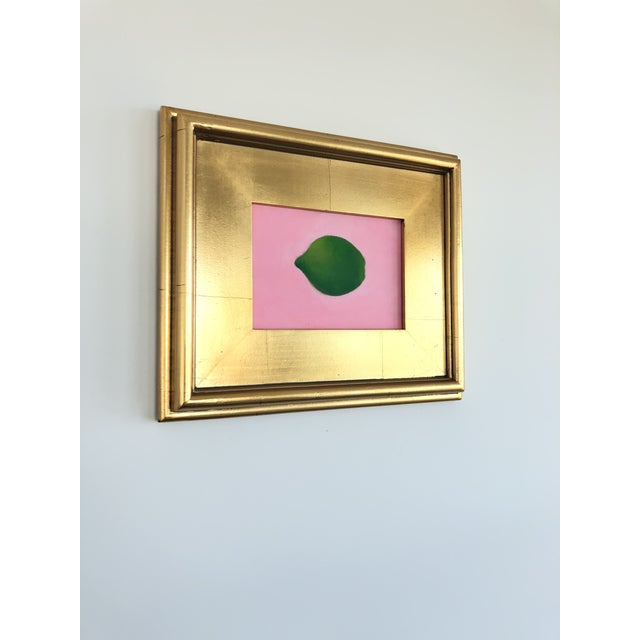 Contemporary Contemporary Lime on Pink Still Life Framed Painting For Sale - Image 3 of 6