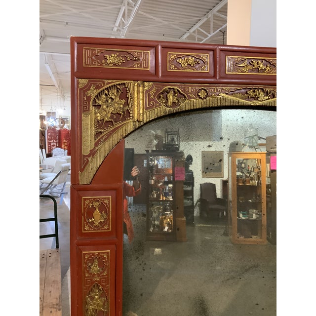 "Vintage Chinoiserie .....sections surround antiqued mirror. Chinoiserie is vintage, c 1950. Size is 84 "" height and 62 ""..."