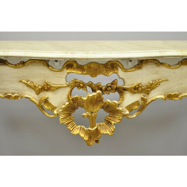 20th Century French Louis XV Rococo Cream & Gold Gilt Console Table For Sale - Image 9 of 11
