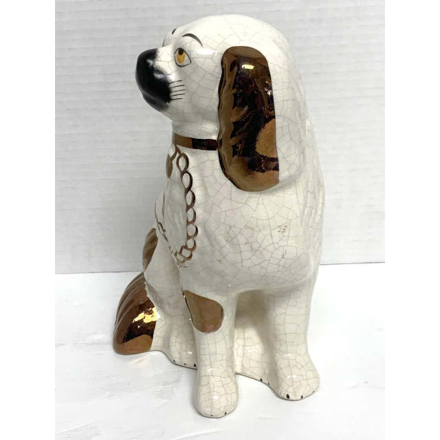 Metal Wider Staffordshire Copper Luster Dogs With Separated Legs - a Pair For Sale - Image 7 of 12